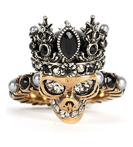 ALEXANDER MCQUEEN Crowned skull ring (Gold