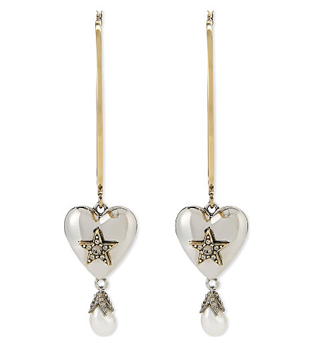 ALEXANDER MCQUEEN Heart pearl large hoop earrings (Gold