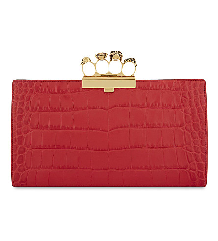 ALEXANDER MCQUEEN Crocodile-embossed leather knuckle clutch (Scarlet+red