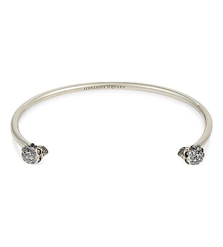 ALEXANDER MCQUEEN Jewelled twin skull bracelet (Silver