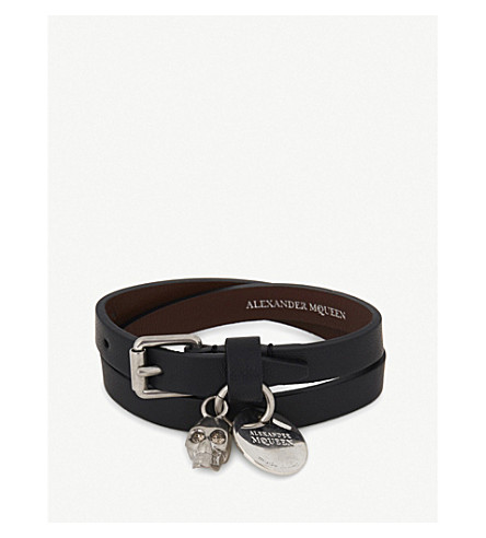 ALEXANDER MCQUEEN Crystal skull leather double wrap bracelet (Black+silver