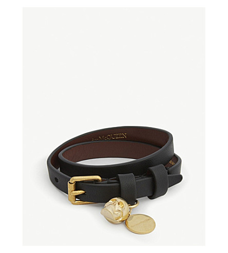 ALEXANDER MCQUEEN Skull double-wrap leather bracelet (Black+gold