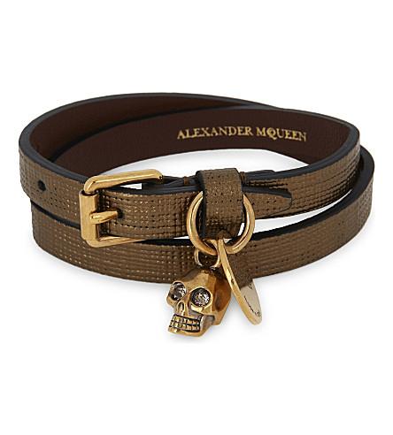 ALEXANDER MCQUEEN Skull metallic leather double-wrap bracelet (Gold
