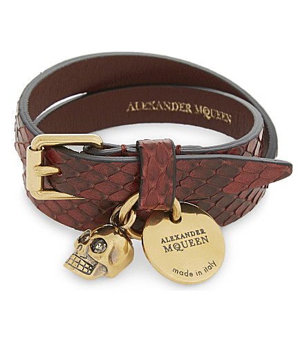 ALEXANDER MCQUEEN Jewelled skull double wrap goatskin bracelet (Lac+red