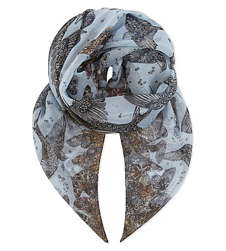 ALEXANDER MCQUEEN Birds and butterfly silk scarf (Blue