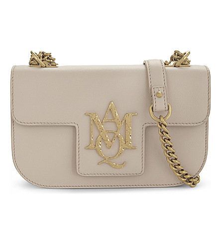 ALEXANDER MCQUEEN Insignia small leather cross-body bag (Nude