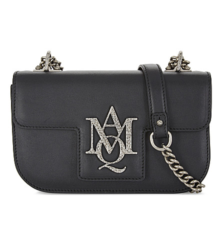 ALEXANDER MCQUEEN Insignia leather cross-body bag (Black+silver