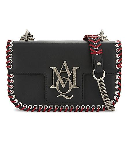 ALEXANDER MCQUEEN Insignia leather satchel (Black+red