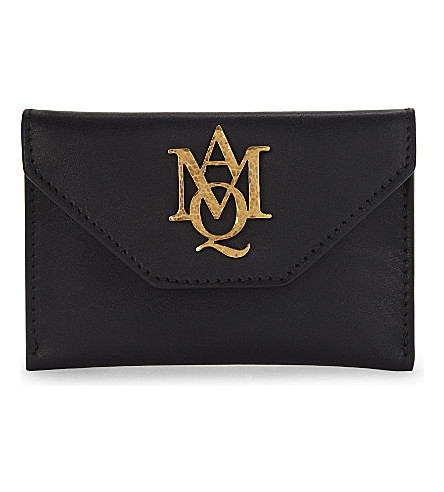 ALEXANDER MCQUEEN Insignia leather envelope card holder (Black
