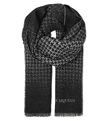 ALEXANDER MCQUEEN Skull wool scarf (Black+ivory