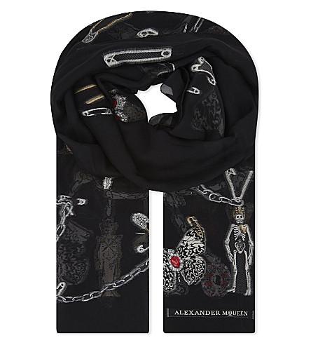 ALEXANDER MCQUEEN Embroidered silk-blend scarf (Black+multi