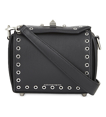 ALEXANDER MCQUEEN Eyelet leather shoulder bag (Black