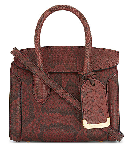 ALEXANDER MCQUEEN Heroine leather reptile cross-body bag (Lac+red