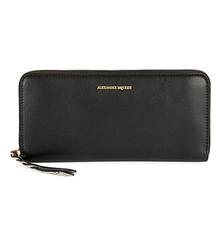ALEXANDER MCQUEEN Leather snakeskin charm continental wallet (Black