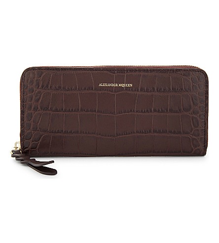 ALEXANDER MCQUEEN Crocodile-embossed leather continental wallet (Burgundy