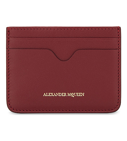 ALEXANDER MCQUEEN Logo leather card holder (Lac+red