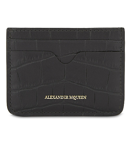 ALEXANDER MCQUEEN Logo crocodile-embossed leather card holder (Black
