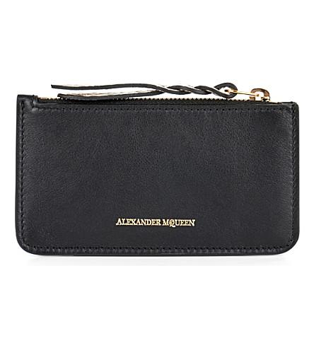ALEXANDER MCQUEEN Crocodile-embossed leather card holder (Black