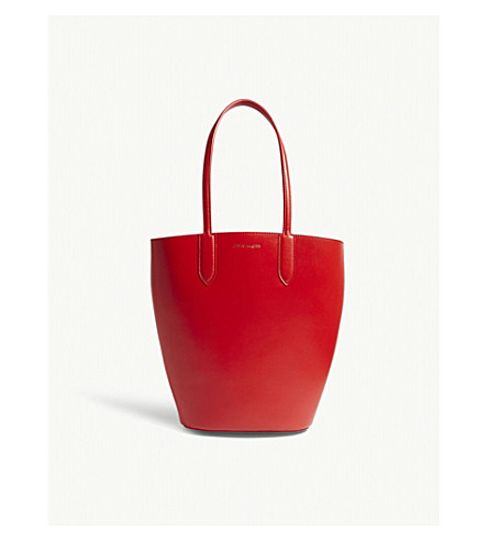 ALEXANDER MCQUEEN Basket small leather tote (Lust+red