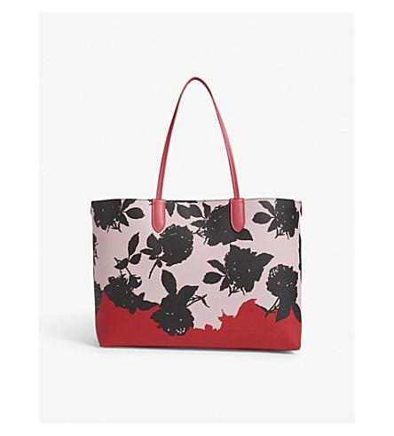 ALEXANDER MCQUEEN Floral-print medium pebbled leather shopper (Rose+multi