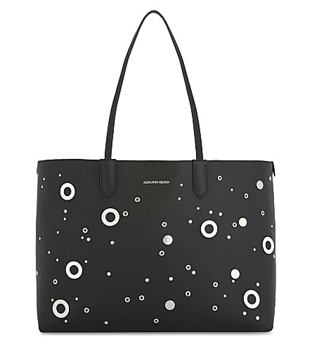 ALEXANDER MCQUEEN Eyelet leather tote (Black+silver