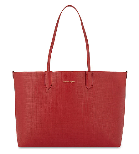 ALEXANDER MCQUEEN Logo leather tote (Scarlet+red