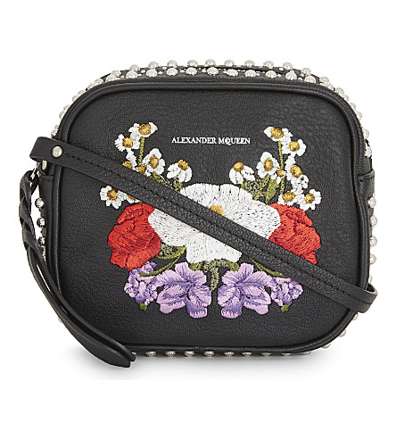 ALEXANDER MCQUEEN Embroidered floral leather cross-body bag (Black+emb