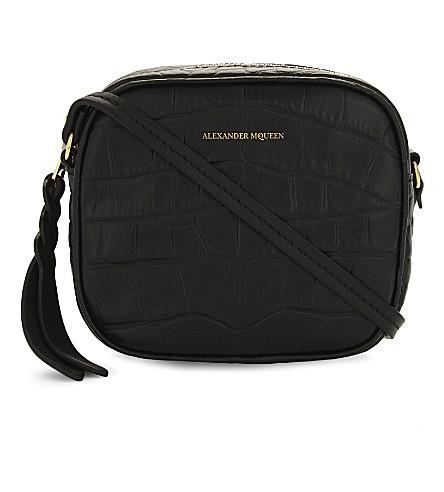 ALEXANDER MCQUEEN Crocodile-embossed leather camera bag (Black+croc