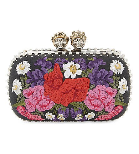 ALEXANDER MCQUEEN Floral 'Queen and King' box clutch (Embroidery