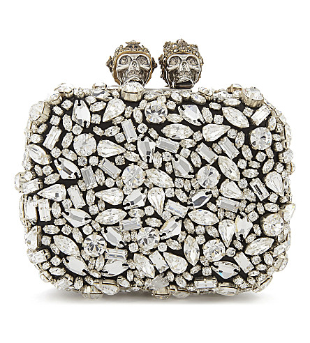 ALEXANDER MCQUEEN Swarovski small knuckle clutch (Black/silver