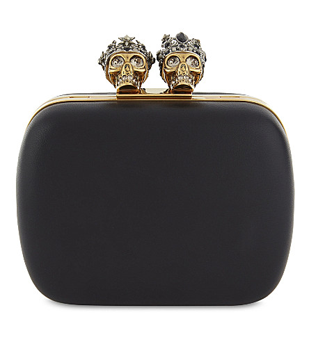ALEXANDER MCQUEEN Knucklebox leather clutch (Black