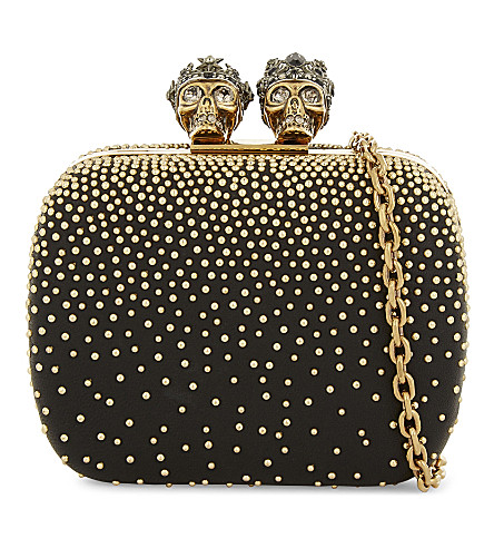 ALEXANDER MCQUEEN Studded leather mini clutch (Gold+black