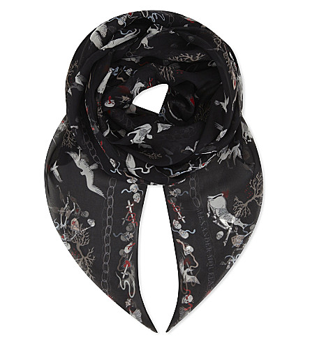 ALEXANDER MCQUEEN Battle of beasts silk scarf (Black