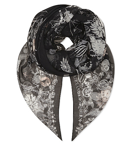 ALEXANDER MCQUEEN Jewel and skull print chiffon scarf (Black+multi