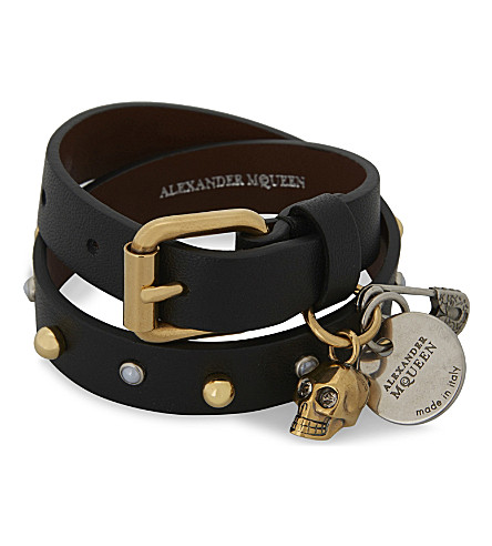 ALEXANDER MCQUEEN Jewelled skull and safety pin double-wrap leather bracelet (Black+gold