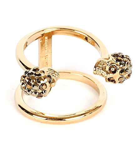 ALEXANDER MCQUEEN Twin skull gold-plated double band ring (Gold