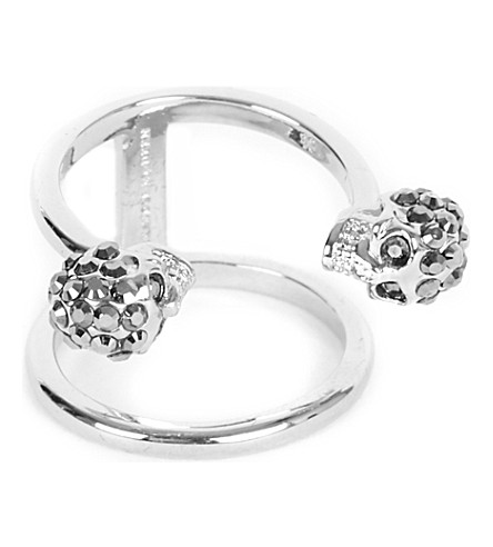 ALEXANDER MCQUEEN Twin skull silver-plated double band ring (Silver