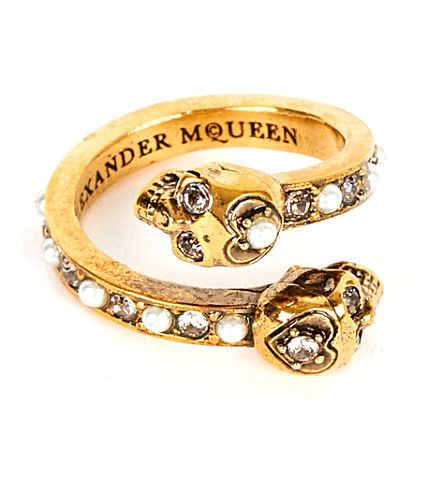 ALEXANDER MCQUEEN Wrap-around skull ring (Gold