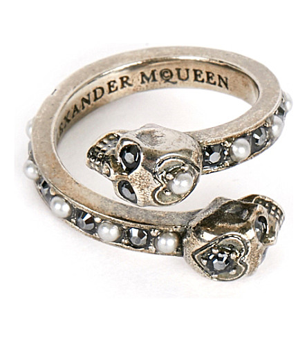 ALEXANDER MCQUEEN Wrap-around skull ring (Silver