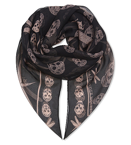ALEXANDER MCQUEEN Dragonfly and skull print silk scarf (Black+ivory
