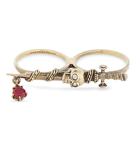 ALEXANDER MCQUEEN Jewelled sword two-finger ring (Gold