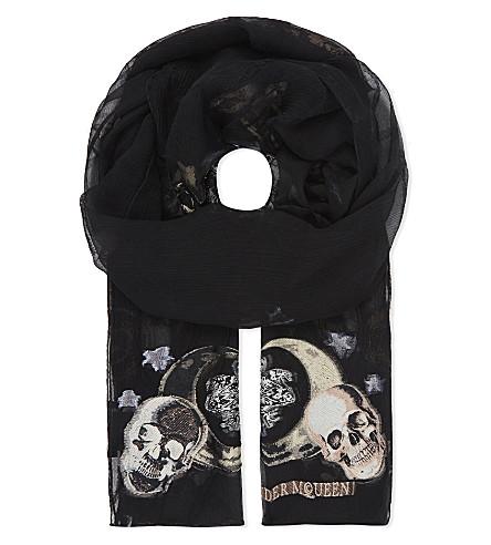 ALEXANDER MCQUEEN Witchcraft silk-blend scarf (Black+grey
