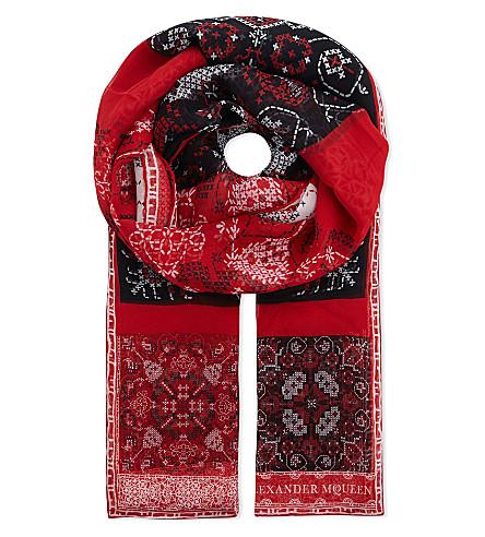 ALEXANDER MCQUEEN Patchwork print silk scarf (Red