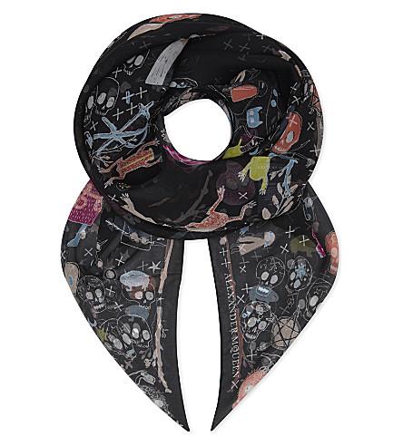 ALEXANDER MCQUEEN Skull print silk scarf (Black+multi