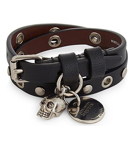 ALEXANDER MCQUEEN Eyelet double wrap bracelet (Black