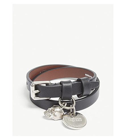 ALEXANDER MCQUEEN Skull double-wrap leather bracelet (Black/silver
