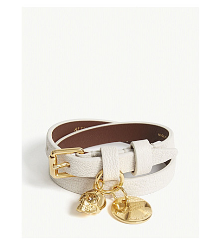 ALEXANDER MCQUEEN Skull double-wrap leather bracelet (Off+white/gold