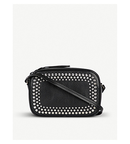 ALEXANDER MCQUEEN Studded grained-leather camera bag (Black
