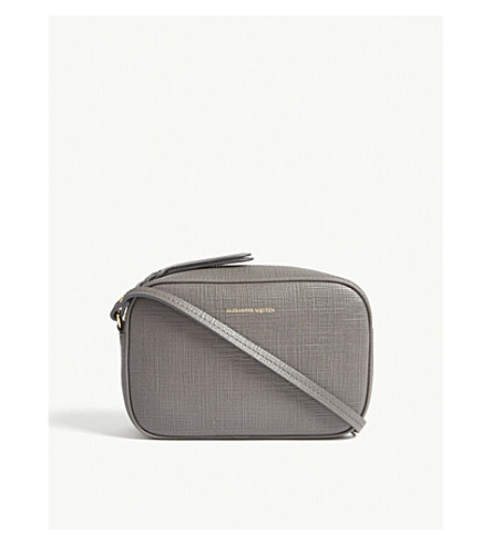 ALEXANDER MCQUEEN Small leather camera cross-body bag (Graphite
