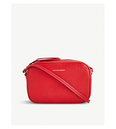 ALEXANDER MCQUEEN Small leather cross-body camera bag (Scarlet+red
